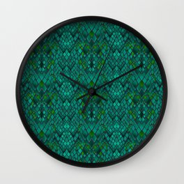 Abstract and imitation crocodile skin texture turquoise color . Wall Clock