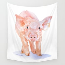 Pig Watercolor Painting Wall Tapestry