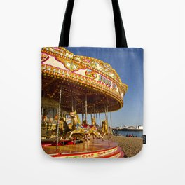 Golden Carousel at the Beach Tote Bag