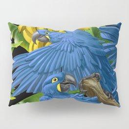 Hyacinth Macaws and bananas Stravaganza (black background). Pillow Sham