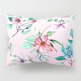Watercolor flowers on violet background. Hand drawing. Pillow Sham