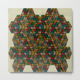 Rubik in optical illusion (structure and pattern) Metal Print