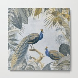 Peacocks Paradise Imaginative Botanical Illustration Metal Print