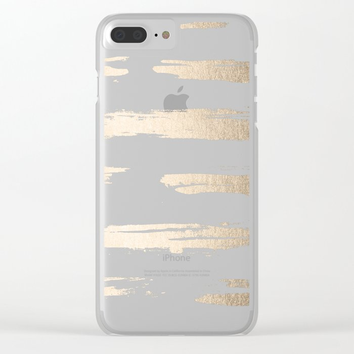Simply Brushed Stripe White Gold Sands on White Clear iPhone Case