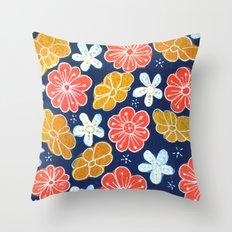 Groovy Flowers Throw Pillow