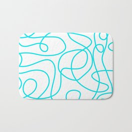 Doodle Line Art | Bright Blue/Turquoise Lines on White Background Bath Mat