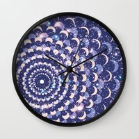 moon phases Wall Clocks featuring Moon Phases by Cina Catteau