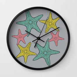 Starfish gray background Wall Clock