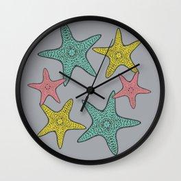 Starfish gray background Wall Clock
