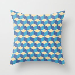 blue geometric cubes, textured square pattern Throw Pillow