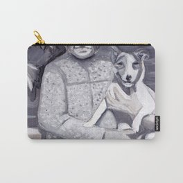 An Old Lady and Her Little Dog in Gouache Carry-All Pouch