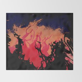 Red, Orange and Black Halloween Night; Fluid Abstract 5 Throw Blanket