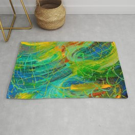 NAUTICAL GALAXY - Beautiful Aquatic Blue Green Ocean Universe Abstract Acrylic Painting Gift Decor Rug