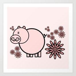 Pink pig in flowers Art Print
