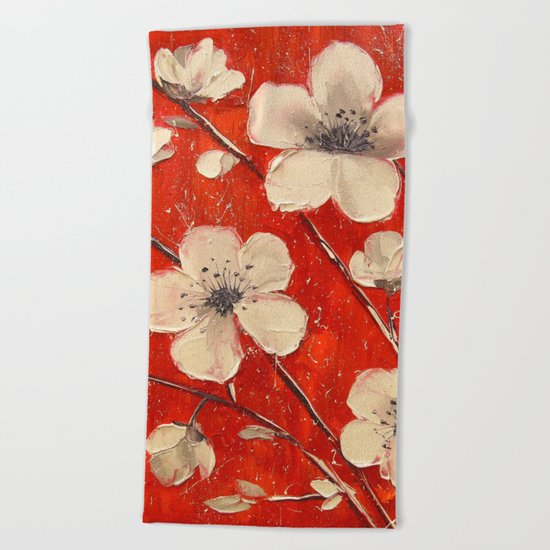 Flowering Apple tree Beach Towel