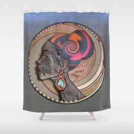 African woman profile on a woven basket Shower Curtain