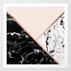 Modern black white marble rose gold color block stripes blush pink Art Print