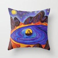 scott pilgrim Throw Pillows featuring Pilgrim by Olga_Kh