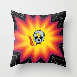 Rainbow Smoking Skull Spider Web Design Throw Pillow