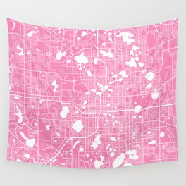 Orlando map pink Wall Tapestry