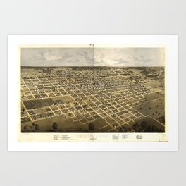 Vintage Pictorial Map of Springfield IL (1867) Art Print