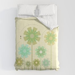 Blooming Flowers and Honey Bees Comforters