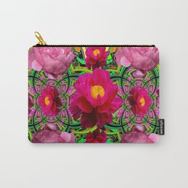 MODERN ART PINK PEONIES GREY ABSTRACT GARDEN Carry-All Pouch