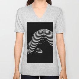 7454-KMA Striped Woman Head Down Bottom Up Black White Photo Unisex V-Neck