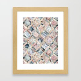 Marble Moroccan Tile Pattern Framed Art Print