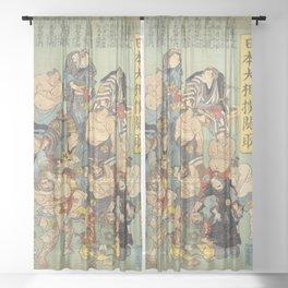 Sumo Wrestlers all stars. Sumo Wrestling. Art Print Sheer Curtain