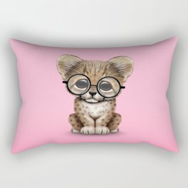 Cute Cheetah Cub Wearing Glasses on Pink Rectangular Pillow
