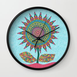 Fabby Flower-Eden colors Wall Clock