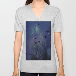 Celestial Night Of Crows Unisex V-Neck
