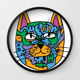Mischief the Trippy Cat Wall Clock