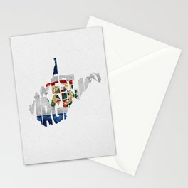 West Virginia Typographic Flag Map Art Stationery Cards