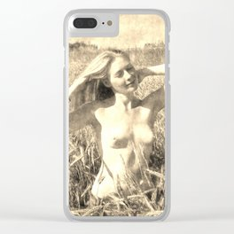 Vintage Beauty of Nature  - erotic photography rework, sexy topless girl at field, kinky nude posing Clear iPhone Case