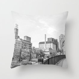 Minneapolis Architecture at the Stone Arch Bridge-Black and White Photography Throw Pillow