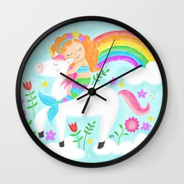 Unicorns, Mermaids & Rainbows...Oh My! Wall Clock