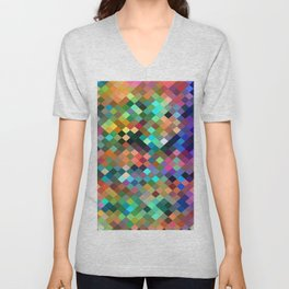 geometric square pixel pattern abstract in orange blue purple pink green yellow Unisex V-Neck