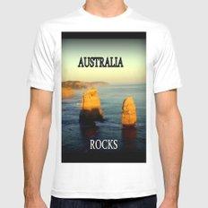 Australia Rocks MEDIUM White Mens Fitted Tee