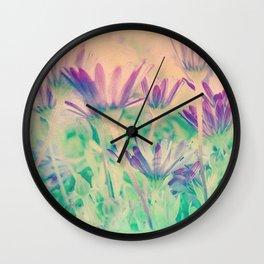 Dreamy Spring Lavender Daisy Flowers Wall Clock