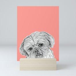 Shih Tzu Dog Portrait ( coral background ) Mini Art Print