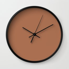 Dark Copper - Brass - Leather Brown Solid Color Parable to Pantone Brass Knuckles 20-0028 Wall Clock
