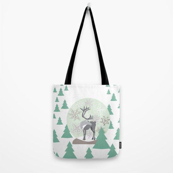 Reindeer Snowglobe Tote Bag