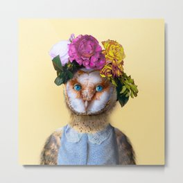 Lady Owl with Head Flowers Bouquet Metal Print