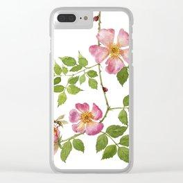 Dog rose love Clear iPhone Case