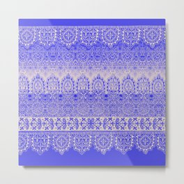 crochet lace mixed in blue Metal Print