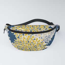 Floral Leaves and Blooms, Navy Blue, Yellow, Beige Fanny Pack