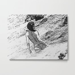 Sexy at the Beach, perfect shapes bikini girl bathing in bay, hot black and white Metal Print