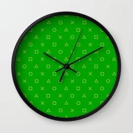 Green Gamer Pattern Wall Clock